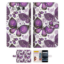 Purple Butterfly Wallet Case Cover For Nokia 6 2018 -- A017