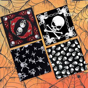 Black Skull Bandana Bandanna Gothic Head wear/Hair Band Halloween Neck Scarf
