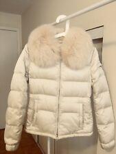 Prada White Down Quilted Coat With Fox Fur EU38 CN165/76A