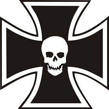 2 x Eisernes Kreuz SKULL Totenkopf  Aufkleber 10x10cm IRON CROSS  Wandtattoo (5)