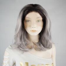 14'' Women Wavy Long Heat Resistant Gray Mix Black Lace Front Wigs