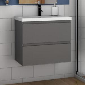 Badmöbel Set 50/60 cm Waschbecken mit Unterschrank Montiert SoftClose Anthrazit