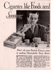 1933 A AD   CHESTERFIELD CIGARETTE PHOTO MAN LIGHTING UP BREAKFAST TABLE