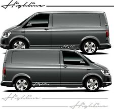 VW Transporter SWB LWB T6 T5 Side Highline Stripes  Decals Stickers any colour