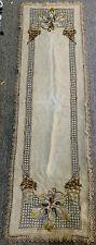 Antique ARTISAN Embroidered Linen Table/Dresser Runner UNIQUE 62x20