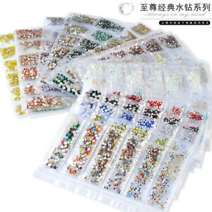 3d DIY mixed color 6 grid nail art rhinestone jewelry gem nail decoration glitte