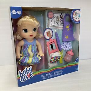 BABY ALIVE Finger Paint Baby Magical Color Reveal Blonde HAIR DOLL BY HASBRO NEW