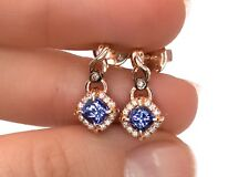 LeVian Tanzanite Chocolate Vanilla Diamond Earrings Dangle 14K Rose Gold NEW