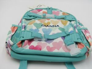 Pottery Barn Backpack Small Multi Colored Hearts Personalized Gianna