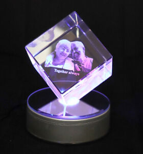 Personalised Lasered 3D Diamond Photo Crystal 80x80x80mm