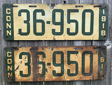 RARE 1918 CONNECTICUT LICENSE PLATES PAIR MATCH SET #36950