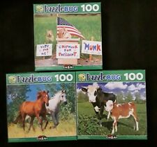 New 100 Piece Jigsaw Puzzle (Lot of 3) Horses Chipmunk Cows