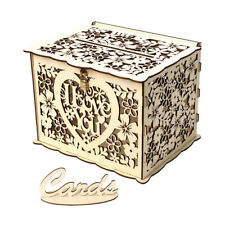 Wedding Card Box with Lock Rustic Wood Gift Box Card Holder for Wedding A5A6