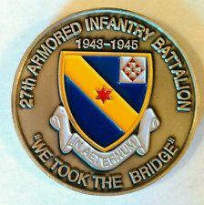 27th Armored Infantry Battalion 1943 - 1945 Commemorative Bronze Coin Numbered