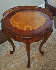 ANTIQUE CARVED MARQUETRY INLAID FRENCH LOUIS PROVINCIAL SIDE TABLE PAIR AVAILBLE