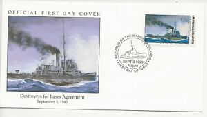50th Ann WWII Comm/FDC - Marshall Isles - Destroyers for Bases Agr -1990 (034)Z