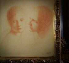 MAGNIFICENT ORIGINAL ANTIQUE DRAWING Red chalk on old paper Black Friday starts!