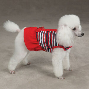 MED Nautical Dog Dress Poodle Schnauzer Cocker D-ring for walking with leash NEW