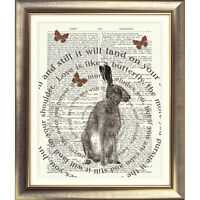 ART PRINT ON ORIGINAL ANTIQUE BOOK PAGE Hare Dictionary Rabbit Quote Wall Poster