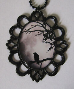 Gothic Victorian Steampunk Raven Crow Moon Cameo Necklace Pendant Goth Jewelry