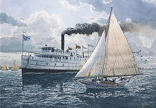 """A Little Too Close"" Tom Freeman Naval Art - Steamboat ""Virginia"""