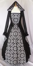 Gothic Hooded Black and White Wedding Dress Medieval Gown Custom Made to size