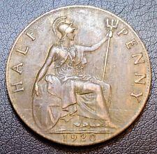 1920 GREAT BRITAIN HALF PENNY COIN - HIGH GRADE - #3272 Matt