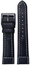 20mm Panatime Navy Dimo Calf Leather Pilots Style Watch Band w/White Stitching