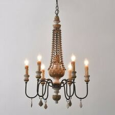 6-Light Sculpted Wood Chandelier Rust Metal Clear Crystal Ceiling Lamp Fitting