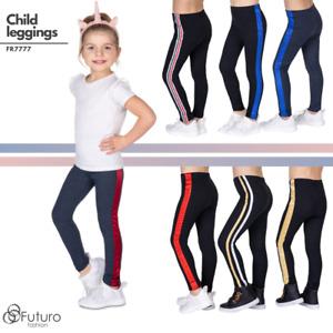 Girls Warm Thick Cotton Striped Leggings Kids Fleece Lined Elastic Pants FR7777