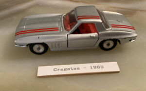 Cragstan silver 1966 Corvette Stingray Hard Top. Die-cast 1:43. Made In Isreal
