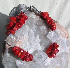 """Bracciale Pietra preziosa cristallo, quarzo chiaro e naturale CORALLO ROSSO """"Crimson ICE"""""""