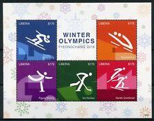 Liberia 2018 MNH Winter Olympics PyeongChang 5v M/S III Ice Hockey Skiing Stamps