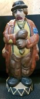 Vintage Hobo Crying Clown Statue ~Stamped Jane's 315~ 17 inches tall.