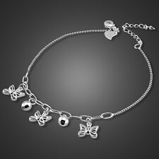 Charm Solid Sterling SilverButterfly & Bead Pendant Chain Lady's Anklet Sb135