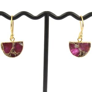 D-Shape Mojave Copper Turquoise 24k Gold Electroplated Handmade Girls Earrings