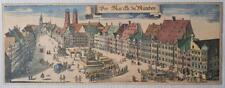Superb large 1700s 'Der Merch Du Munchen' original copper etching Marienplatz