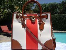 Michael Kors Hamilton Large Mono Stripe Satchel Bag MANDARIN Handbag NS Tote NWT