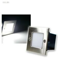 5x LED Aplique empotrado EXTERIOR/Interior, blanco luz fría, acero inox. Pared