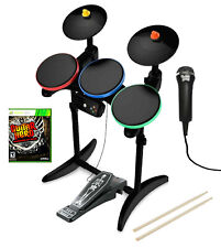 Xbox 360 Guitar Hero WARRIORS OF ROCK Drums * Nyko SKELETON Pedal *Mic *Game