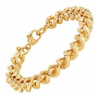 """Italian-Made Textured Curb Link Bracelet in 18K Gold-Plated Bronze, 7.75"""""""