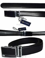 New Men's Black Leather Dress Belt w/ Auto Lock Sliding Buckle, Up to 42 inches
