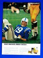 """Johnny Unitas Baltimore Colts 1966 Desenex Original Print Ad-8.5 x 11"""""""