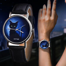 Luxury Womens Band Leather Simple Mysterious Black Cat Alloy Analog Quartz Watch