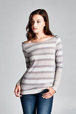 On Trend Nautical Striped Long Sleeved Supersoft Boatneck Tee Rose Silver S M L