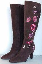 Diane Von Furstenberg Womens Suede Leather Boots Brown Knee High Flowers 8 1/2 M