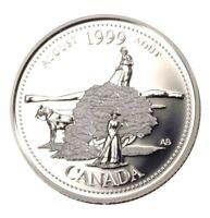 1999 Canada Millennium Series August Silver Proof 25 Cents Quarter!!