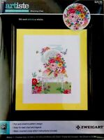 Counted Cross Stitch Kit Blooming Chair Floral Needle Art Zweigart 14-ct Aida