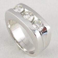 Men's Three Stone Diamond Ring White 1.60 Carat Heavy 13 Grams 14K White Gold