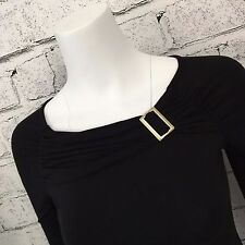 Carmen Marc Valvo Collection Black Blouse Fitted Buckle Sexy Top XS casual club